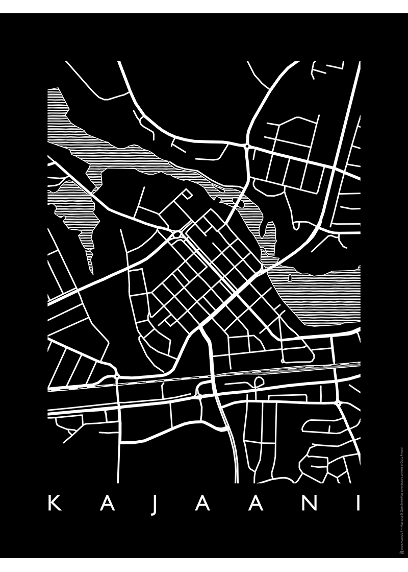 Musta MAP Kajaani -juliste 30 x 40 cm