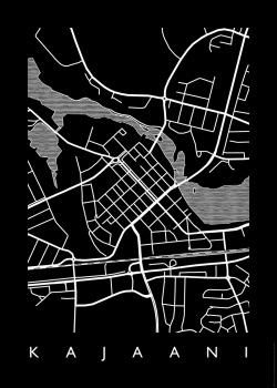 Musta MAP Kajaani -juliste 50 x 70 cm